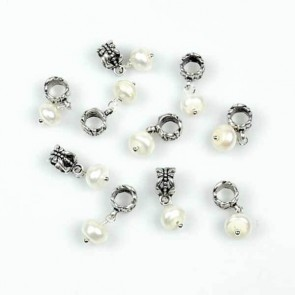 Flat Round Pearl Charm Bead