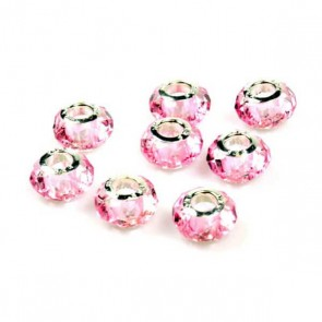 Round Pink Faceted Charm Bead