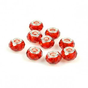 Round Red Faceted Charm Bead