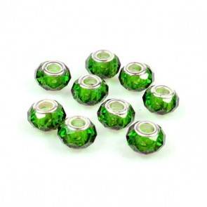 Round Dark Green Faceted Charm Bead