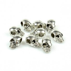 Silver Skull Bead with Patch