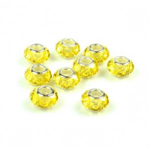 Round Yellow Faceted Charm Bead