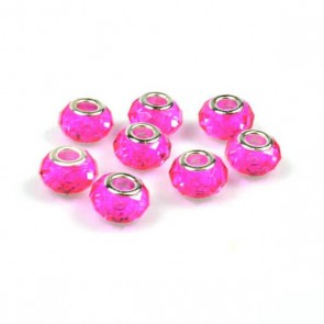 Round Fuchsia Faceted Charm Bead