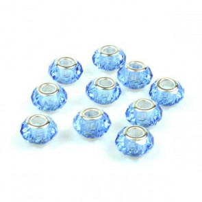 Round Blue Faceted Charm Bead