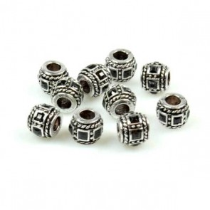 Antique Silver Barrel Bead with Black Rhinestone