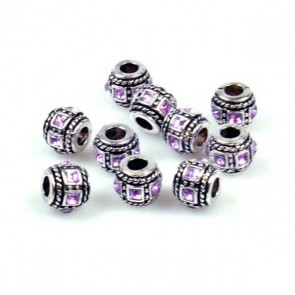Antique Silver Barrel Bead with Purple Rhinestone