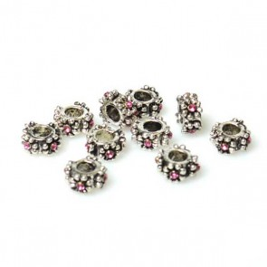 Flower Pattern Charm Bead with Pink Rhinestone