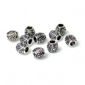 Carved Silver Heart Barrel Bead