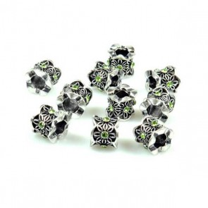 Green Rhinestone Flower Pattern Charm Bead